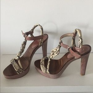 Genuine Coach leather and snake strappy heels